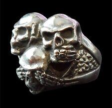 Stainless 3 Skull Biker Ring Custom Sized Hear See Speak no Evil Handmade r169ss