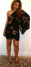 $188 ATKO MINI DRESS, ONE SHOULDER BAT WING SLEEVE, BLACK MULTI DYED SIZE M