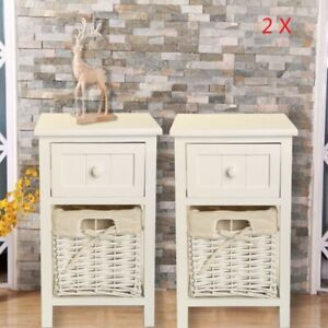 New Pair of Wooden Bedside Tables Chic White Drawers & Wicker Basket Cabinet