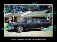 OLD POSTCARD SIZE PHOTO OF 1967 VE CHRYSLER VALIANT SAFARI LAUNCH PRESS PHOTO