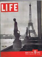 ORIGINAL Vintage Life Magazine March 18 1946 Eiffel Tower Paris France