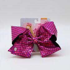"JOJO 8"" Silver/Pink Holographic Mermaid Scale girl Hair Bow Clip Dance UK SELLER"