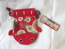 DAISO JAPAN Japanese Pattern Pouch Red Koi Fish Design