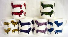 Man's Best Friend Mugs Set of 6 Bone China Dachshund Multicolour Dog Made in UK