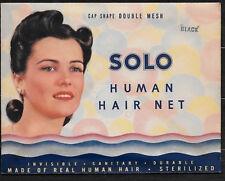 Vintage 1940's Solo Human Hair Net in Original Pack