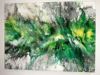 Abstract Contemporary Modern Fluid ArtPainting 12x16 Canvas Resin with Glitter