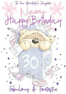 PERSONALISED 30TH THIRTY BIRTHDAY CARD - FIZZY MOON BEAR