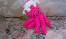 Pippa, a hot-pink octopus with lovely hat - handcrafted-crocheted amigurumi