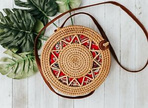 Lady Hand Woven Round Rattan Straw Bag Bali Boho Crossbody Handbag Shoulder Bags