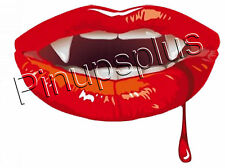 Sexy Vampire Pinup Girl Lips Waterslide Decal Sticker For Guitars & more S610