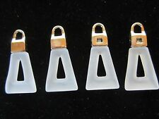 """1 1/2"""" Charm Purse Zipper *FOSTED WHITELUCITE* Pull Repair Replace (4 pc)"""