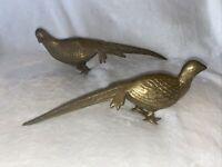 """Vintage SET 2 Brass Pheasant Bird Figures Statues 13"""" Long Dove Quail Partridge"""