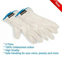 Coin Handling Gloves 100% Cotton PROOF UNC Safe Handling 2 Quality Pairs 1 Size