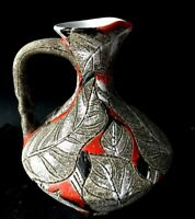 Vintage Hand Painted Incised Abstract Art Decor Enamel Clay Pitcher