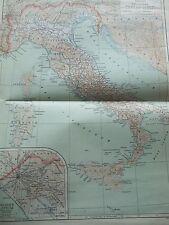 Antica Stampa 1926 MAPPA Antica Italia colore PIEGHEVOLE VINTAGE MAPPAMONDO MAPPA DEL MONDO