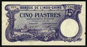 French Indo-China 1910-1915, 5 Piastres, P16b, VF