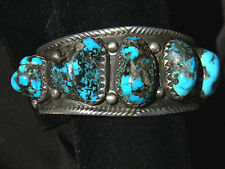 "LARGE Navajo Sterling BISBEE Turquoise Nuggets Cuff Bracelet 139 Gr 7.75"" $6,500"