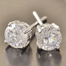 Hot white Gold Filled White CZ Square couple womens Fashion small Stud Earrings