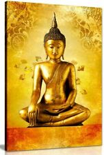 Gold Buddha Statue God Zen Canvas Wall Art Picture Print