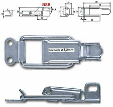 2 St.Spannverschluss Kistenverschluss Nietloch Ø 5,2mm Stahl verz. Kappenschloss