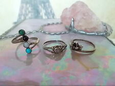 Lot of 3 Sterling Silver, Gemstone Rings, Sizes 6.5, 7.75, 8.5 adjustable