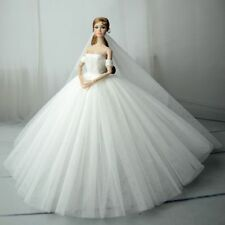 White Fashion Royalty Princess Dress/Clothes/Gown+veil For Barbie Doll S556
