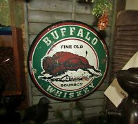 Primitive Antique Vtg Style Buffalo Bison Whiskey Bourbon Dome Sign Metal Tin