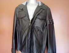 NEW OTHER NICKELSON LEATHER HOODED BLACK BADGED JACKET SIZE LARGE