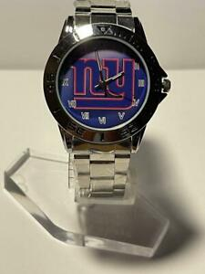 New York Giants NFL Logo Stainless Steel Link Silver Analog Watch NEW