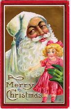 Vintage Merry Christmas Postcard - Santa and Doll - 1913 - Fair to Good