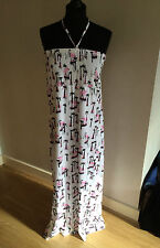 NWT EUGEN KLEIN WHITE, PINK & BLACK TROPICAL PATTERN MAXI DRESS SIZE 16 RRP £145