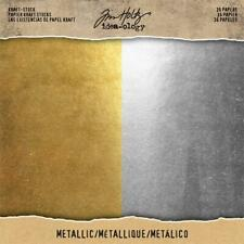 "Tim Holtz Idea-ology 'METALLIC' Cardstock Paper Pad 8x8"" Gold/Silver 36 papers"
