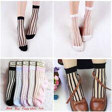 Lace Flower Ankle Breathable Glass Silk Socks Transparent Stripe Sheer Mesh