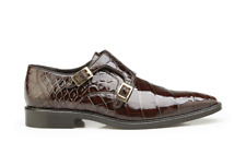 New Men's Belvedere Oscar Chocolate Brown Genuine Alligator Double Buckle Shoes