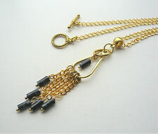 Black Green Picasso Serpentine Gold Plated Tassel Necklace    KCJ2498