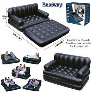 NEW 5 in 1 INFLATABLE DOUBLE SOFA LOUNGER COUCH AIRBED MATTRES SOFABED AIR BED