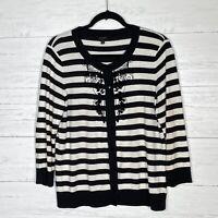 Talbots Women's L Black White Striped Beaded Cardigan Sweater 3/4 Sleeve Button