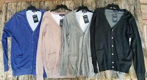New $59.50 ROUNDTREE & YORKE slim fit large [L] cardigan sweater 100% cotton