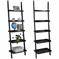Black 5-Tier Bookcase Bookshelf Leaning Wall Plant Shelf  Ladder Storage Display