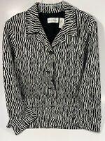 Alfred Dunner Women's Zebra Print Pockets Blazer Jacket Size 12 Black White