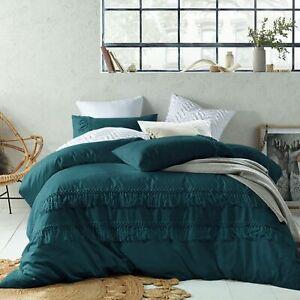 Tassel JADE Linen Cotton Quilt Duvet Cover Set - DOUBLE QUEEN KING Super King