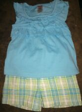 FISHER PRICE Baby Girls Size 12 Months Sleeveless Ruffle Top & Shorts Outfit NEW