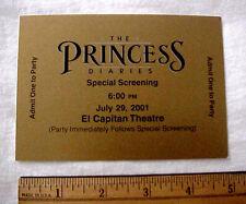 PRINCESS DIARIES SPECIAL SCREENING MOVIE TICKET 2001 DISNEY ANN HATHAWAY