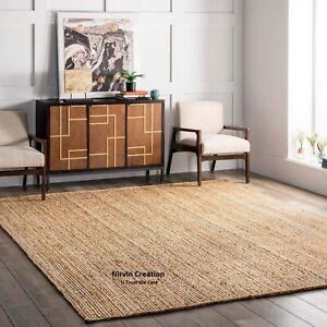 Rug Jute Carpet 100% Natural Jute Square Braided 120x120 Cm Style Rustic Look