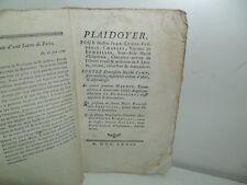 Plaidoyer, Pour le Vicomte de Bombelles - Paris, juin 1772