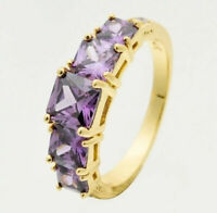 Natural Alexandrite Ring 14K Yellow Gold Purple Color Change Women's Jewelry