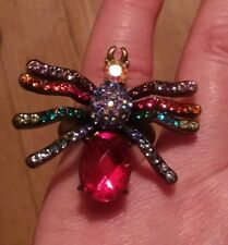 Stunning Rare Butler & Wilson Crystal Set Spider Ring In box L- M Halloween
