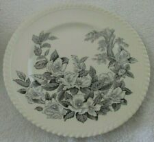 "JOHNSON BROS WINDSOR WARE ENGLAND APPLE BLOSSOM BLACK 9"" PLATE (6 AVAIL)"