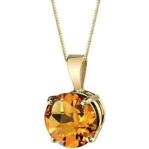 Oravo 14 Kt Yellow Gold Round Cut 1.75 cts Citrine Pendant