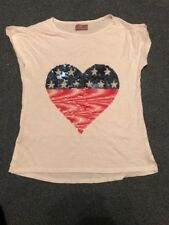 Girl Tshirt White With Sequin Heart Mango Girls Age 11-12